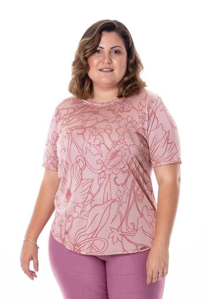 Blusa plus size estampa floral rosa