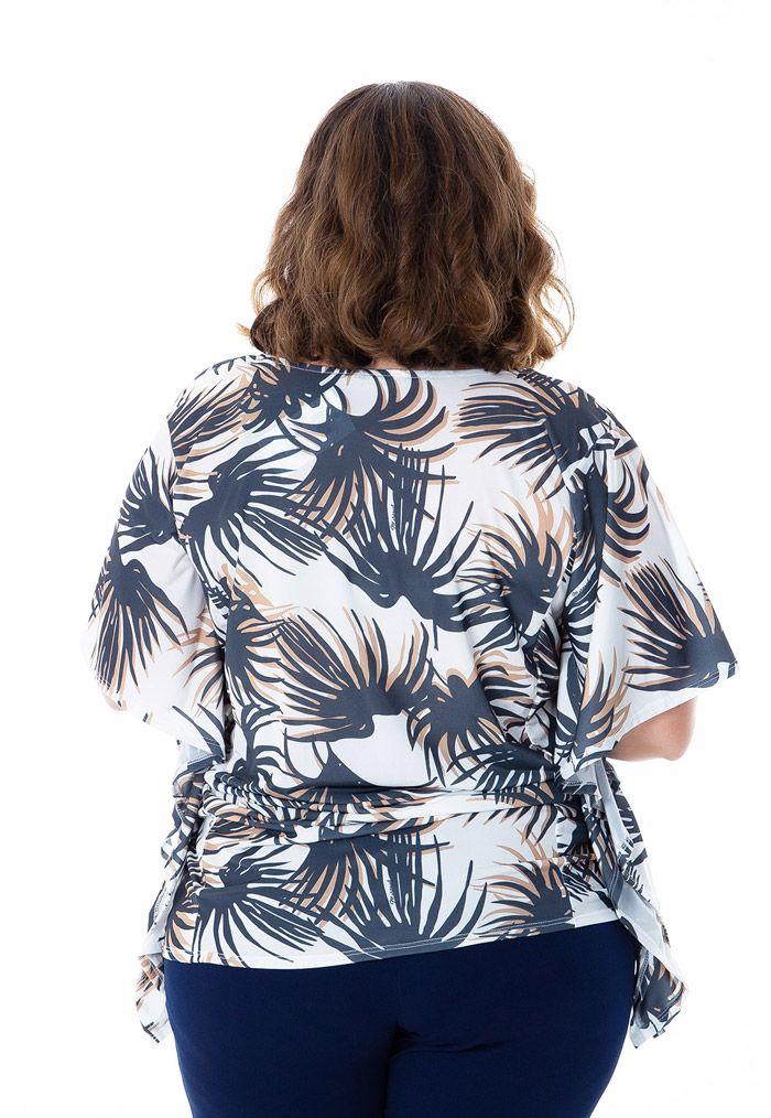 Blusa plus size estampada tipo kaftan