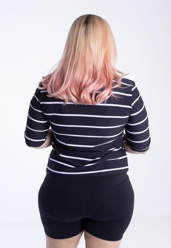 Blusa Plus Size Listrada Franzido Mangas