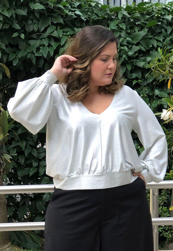 BLUSA PLUS SIZE LUXURY DEEP PRATA
