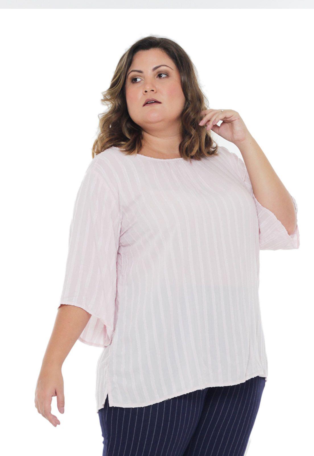 Blusa rosa manga ampla