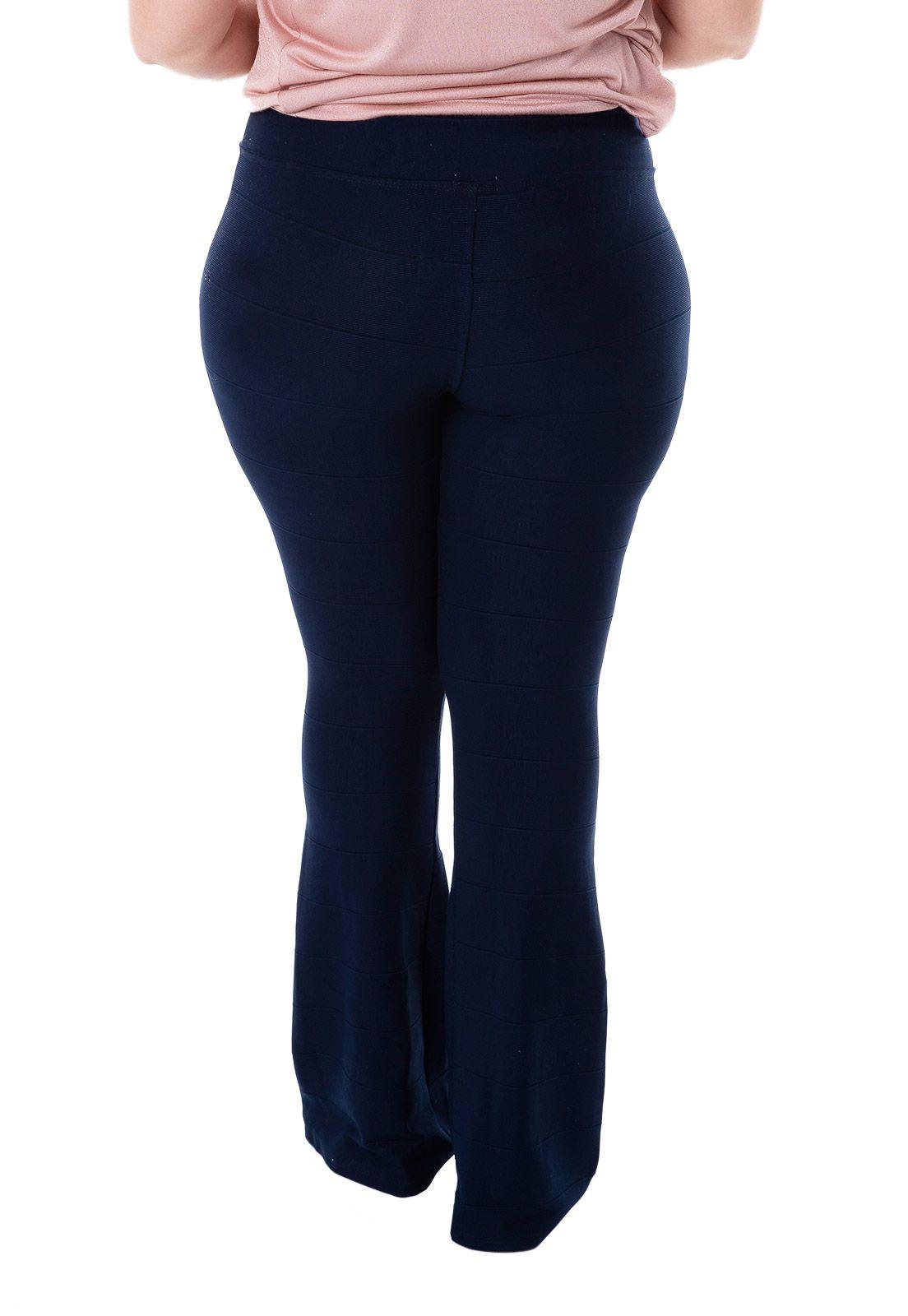 Calça Bandagem plus size azul marinho