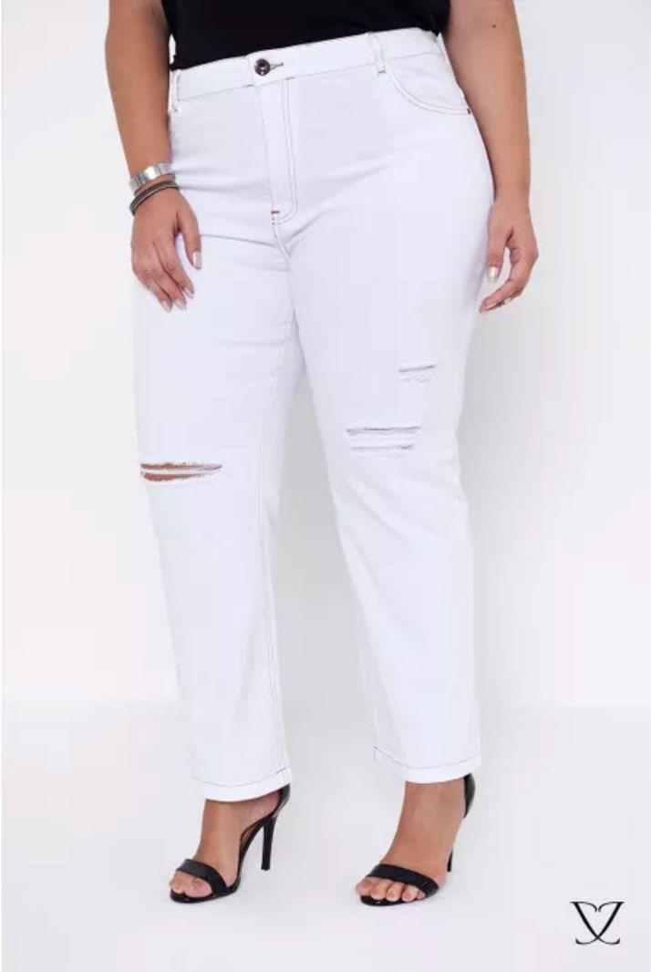 Calça Cigarrete destroyed jeans