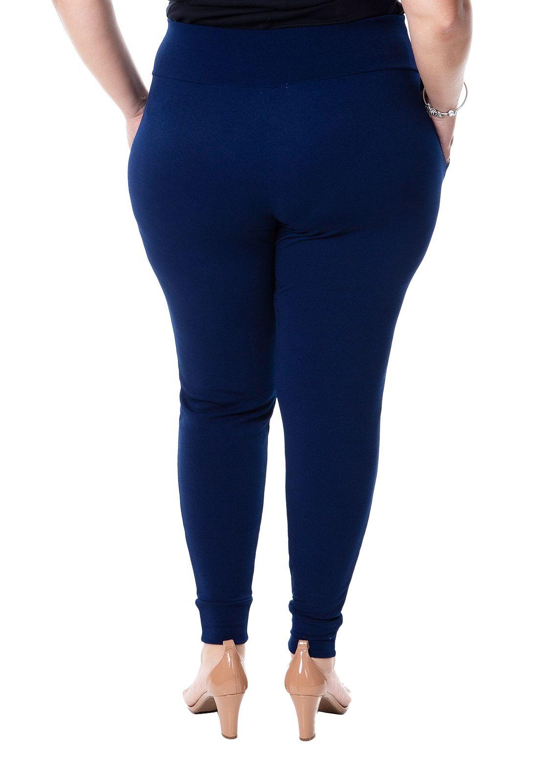 Calça jogging plus size de malha azul marinho