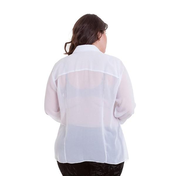Camisa chiffon com bordado em pedraria