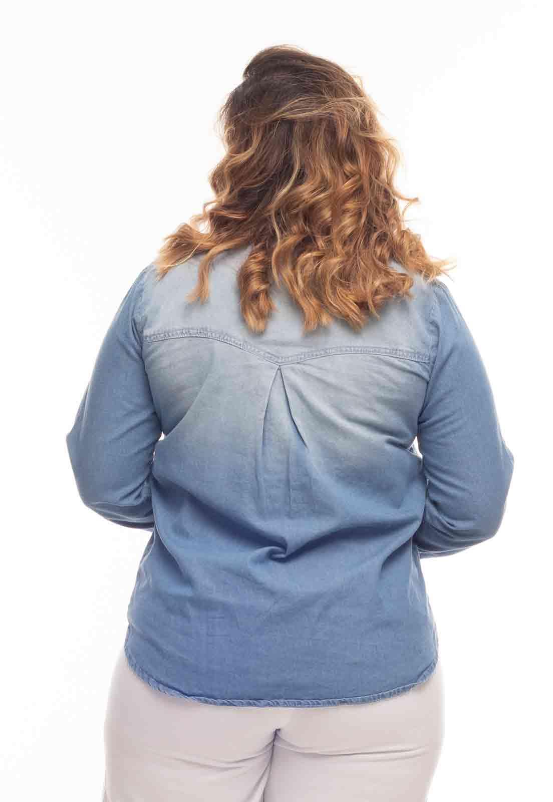 Camisa jeans clara gola padre