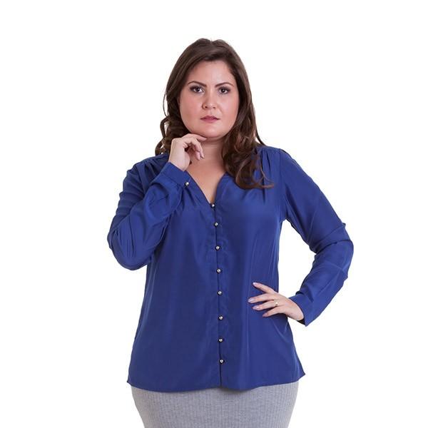 Camisa manga longa com franzido no ombro