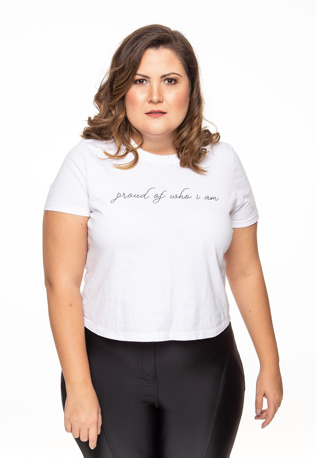 Camiseta plus size manga curta Proud