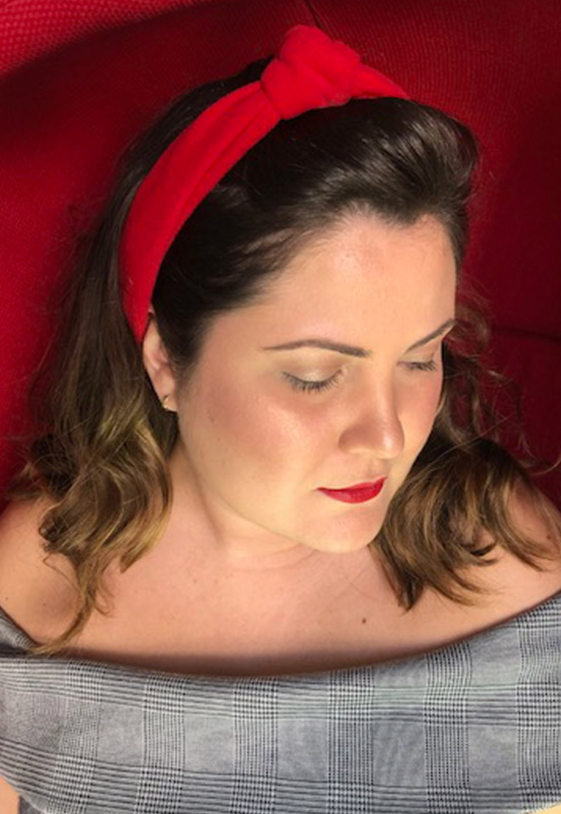 Faixa de cabelo nózinho vermelha