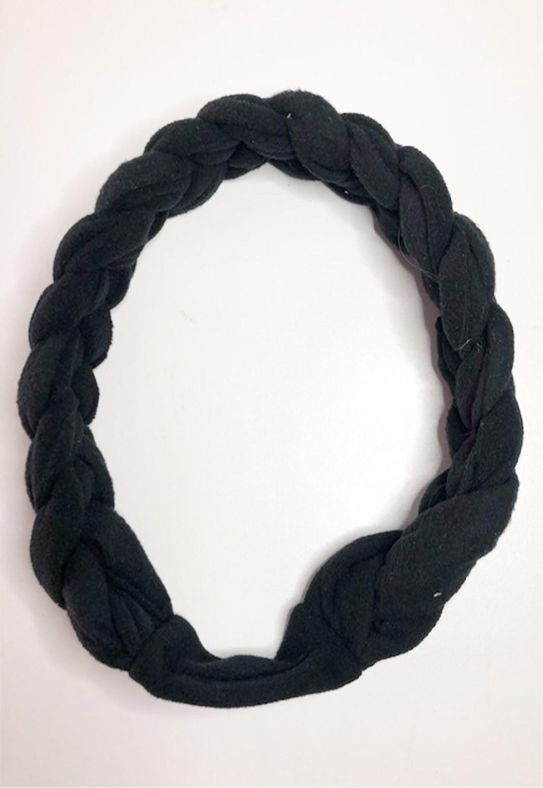 Faixa de cabelo trança preta