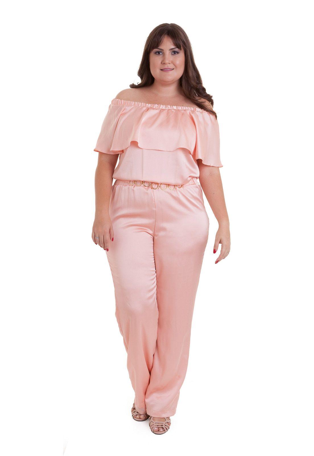 Macacão rosa cotton colors de cetim plus size