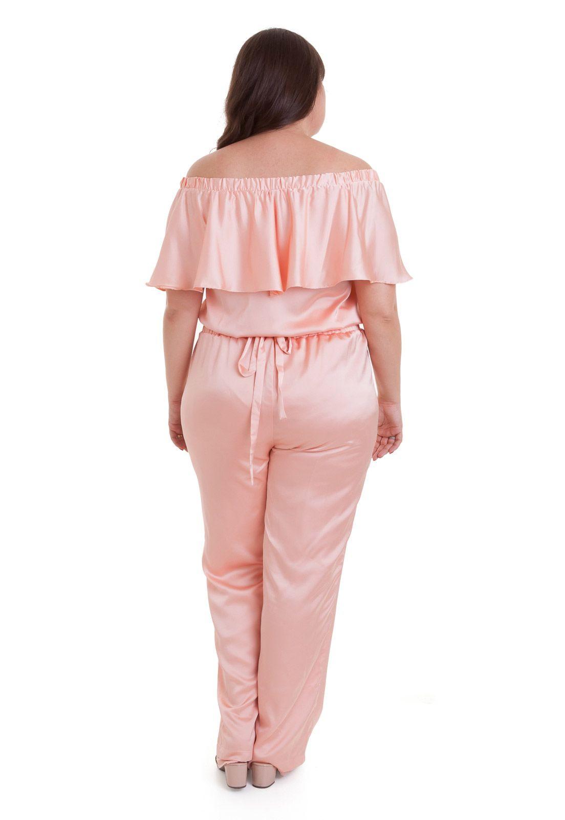 Macacão rosa cotton colors de cetim