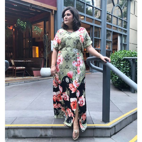 Saia plus size estampada longa