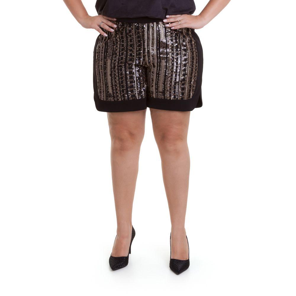 Shorts bordado de paetê dourado plus size