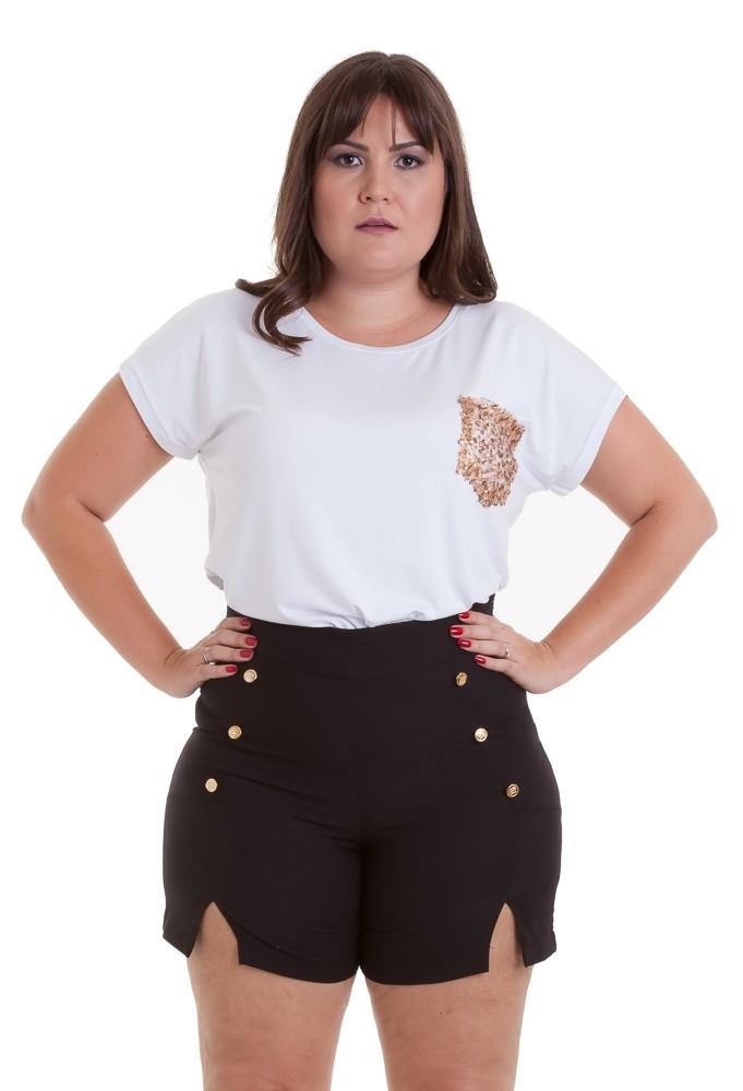Shorts Minha Linda com botões preto