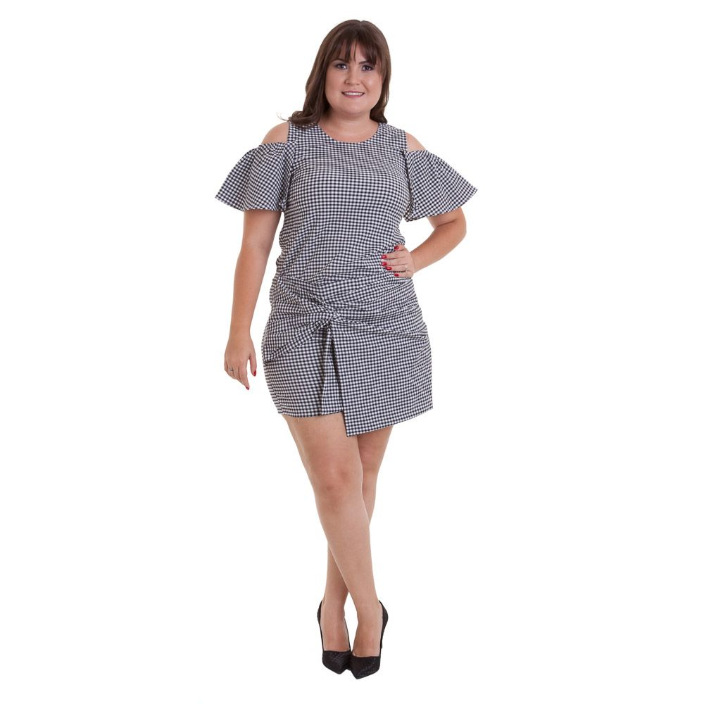 Shorts/saia de vichy plus size