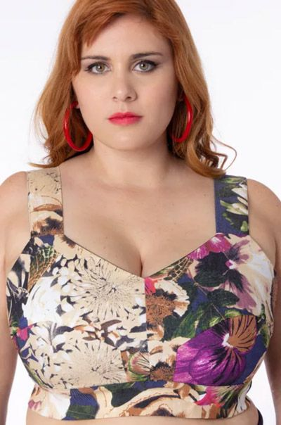 Top plus size Cropped floral Dolce