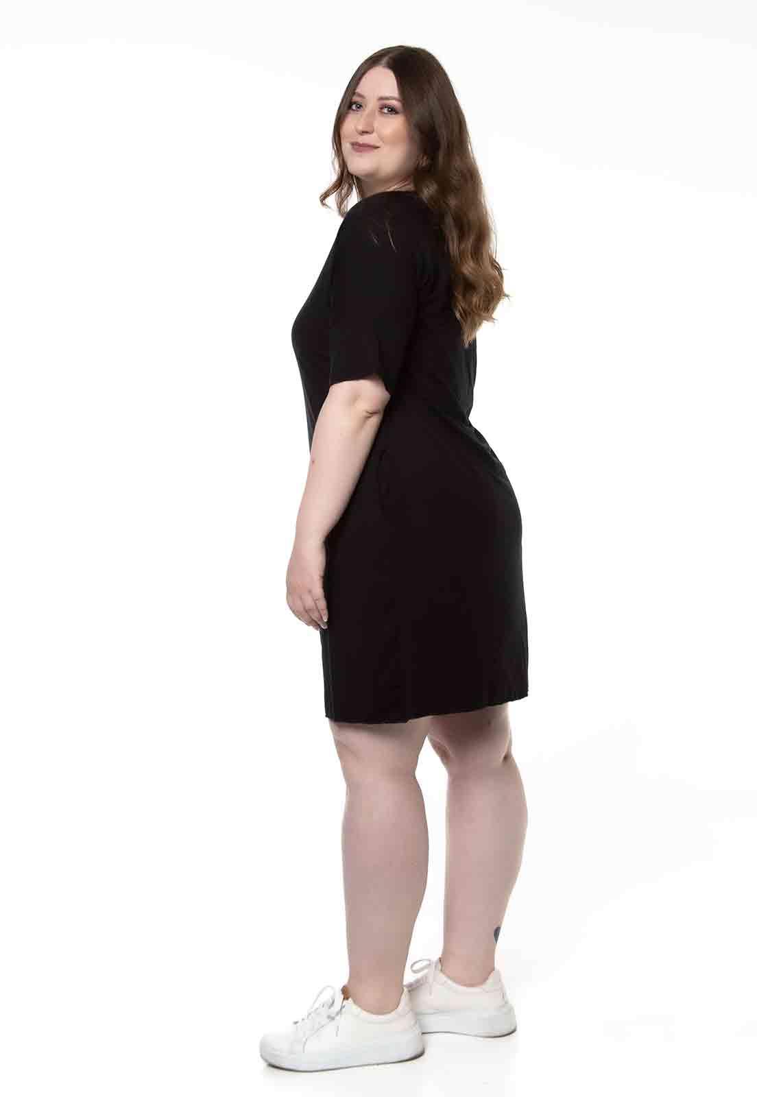 Vestido Básico Com Decote V Preto