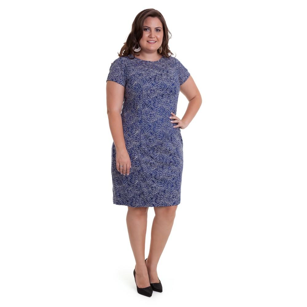 Vestido curto de renda azul royal plus size