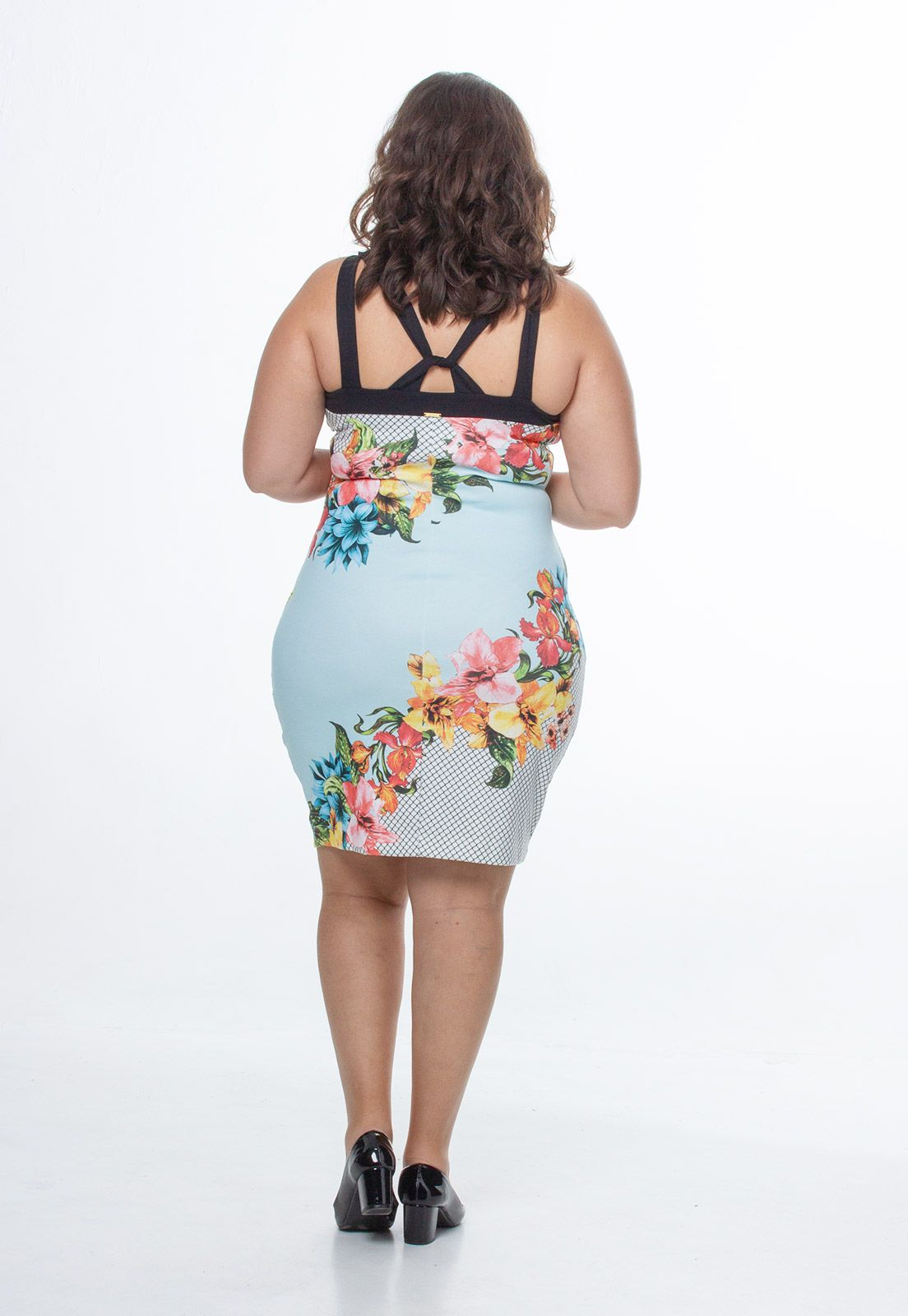 Vestido de malha estampado de alça plus size