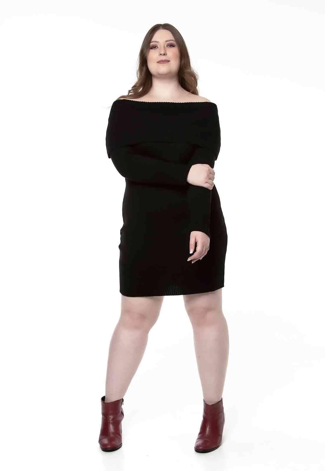 Vestido de tricô ombro a ombro preto