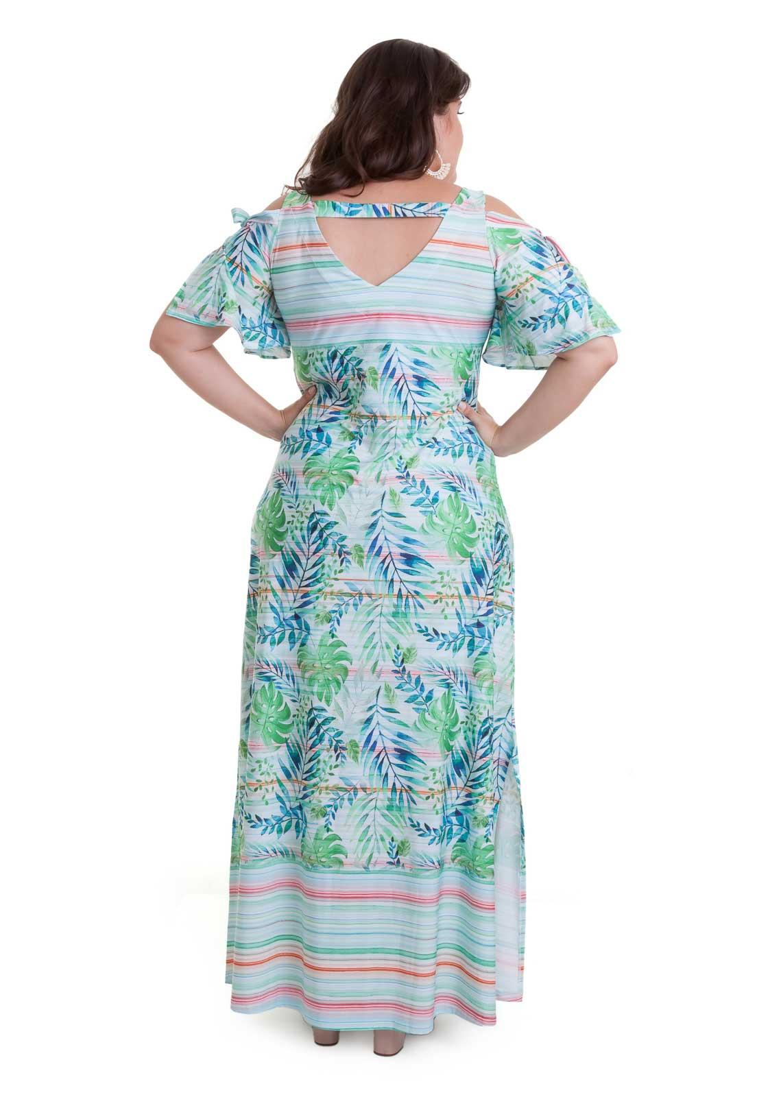 Vestido longo de liganete recorte no ombro estampado