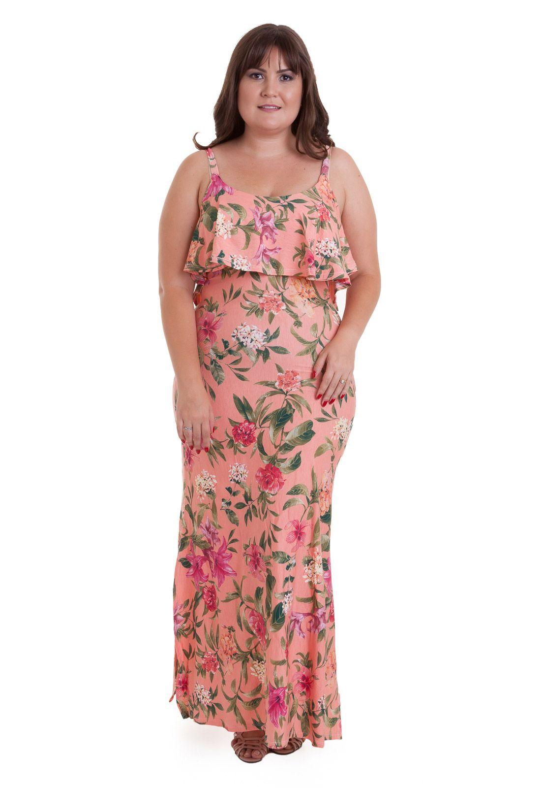 Vestido longo de malha rosa de alcinha e babados