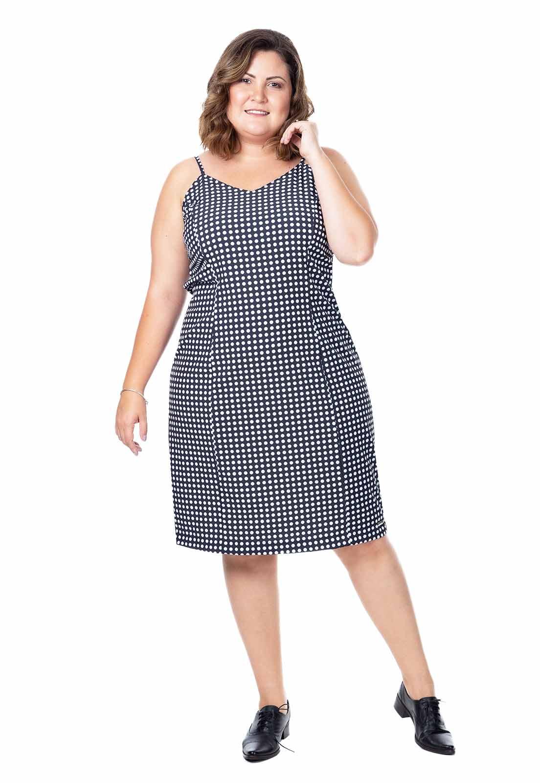 Vestido plus size alcinha de bolinhas