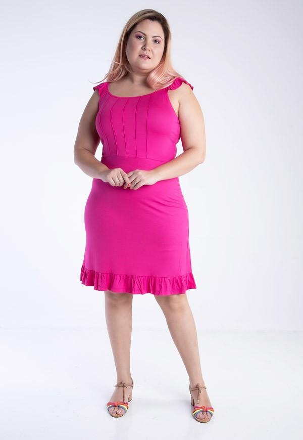 Vestido plus size de alcinha com nervuras e babadinhos pink