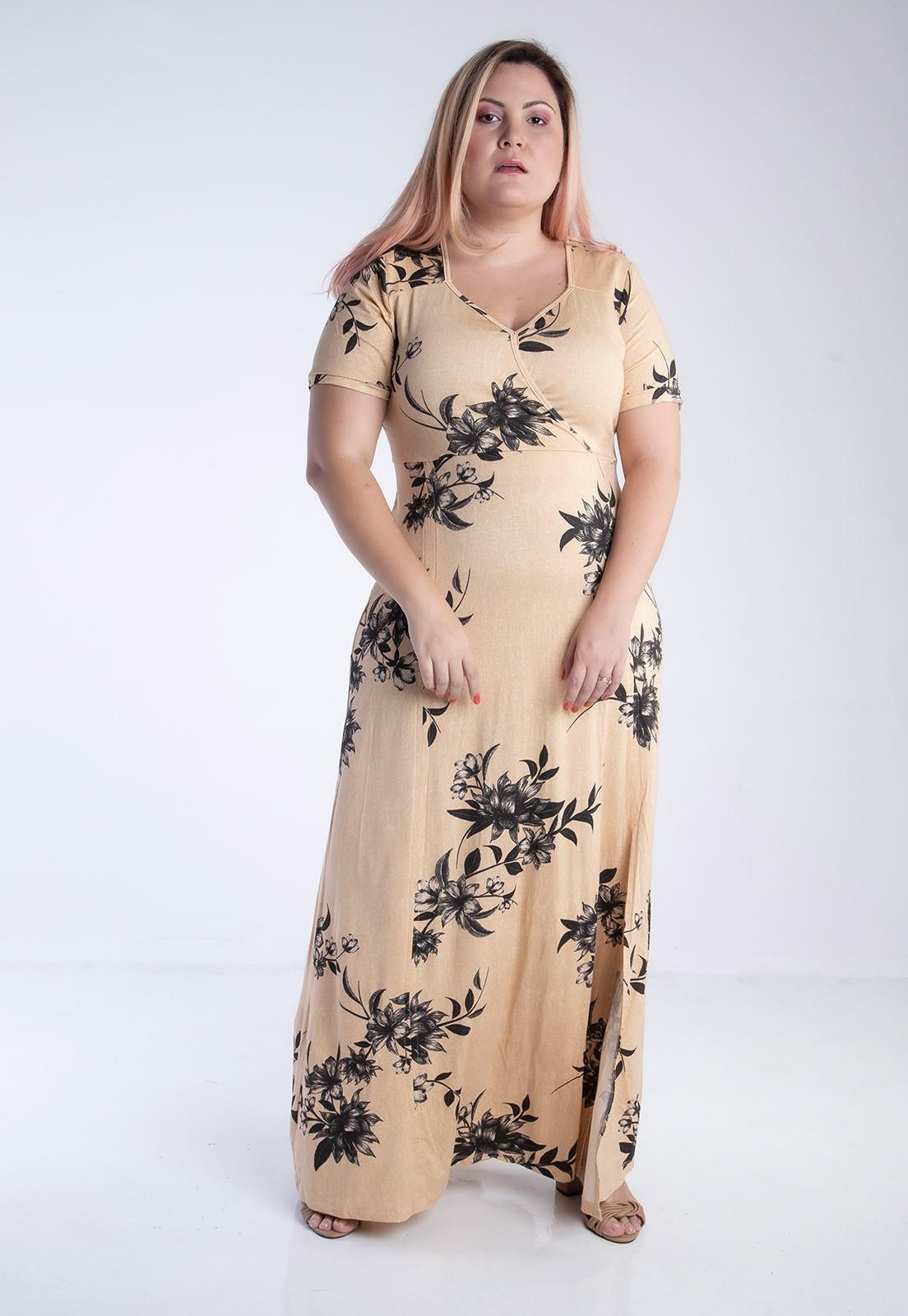 Vestido plus size longo floral fenda bege