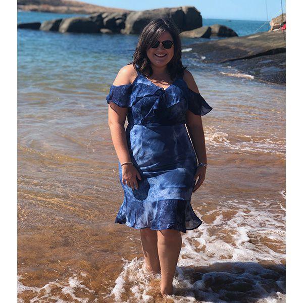 Vestido plus size tie dye azul