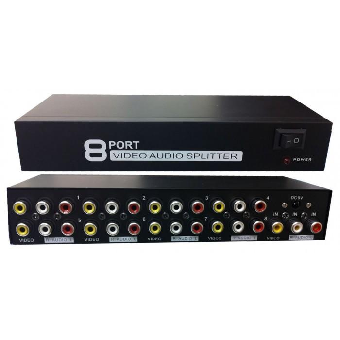 Vídeo Splitter Áudio E Vídeo RCA Com 8 Portas