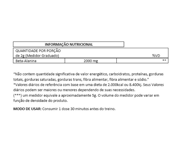 BETA ALANINA ABSOLUT NUTRITION -  200G