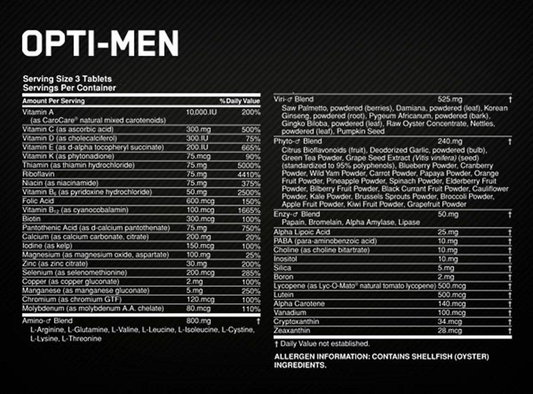 OPTI-MEN OPTIMUM NUTRITION - 90CAPS