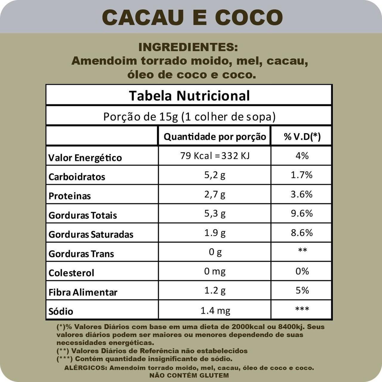 AmendoMel c/ Cacau e Coco (500g) - Thiani