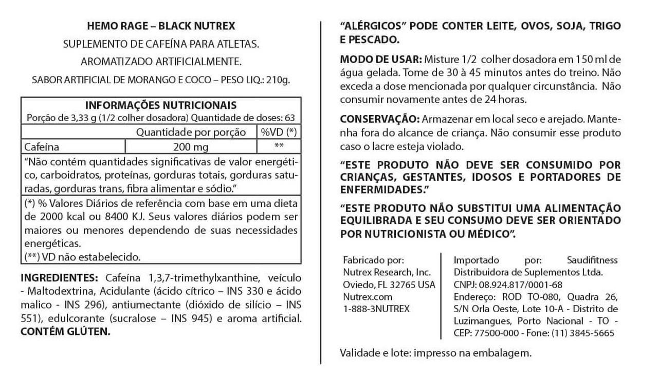 Hemo-Rage Ultra Concentrado (210g/63 Doses) Edição Limitada - Nutrex