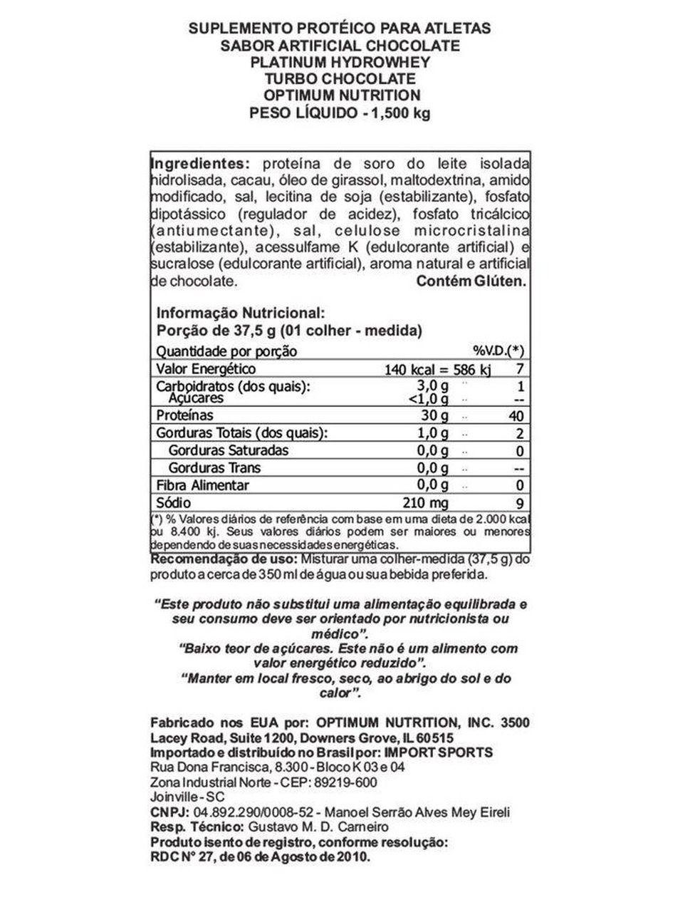 Platinum Hydro Whey (3.31lbs/1,5Kg) - Optimum Nutrition