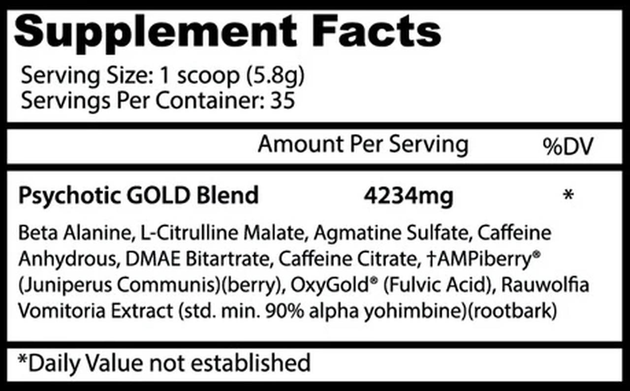 Psychotic Gold Pre Treino (35 Doses) - Insane Labz