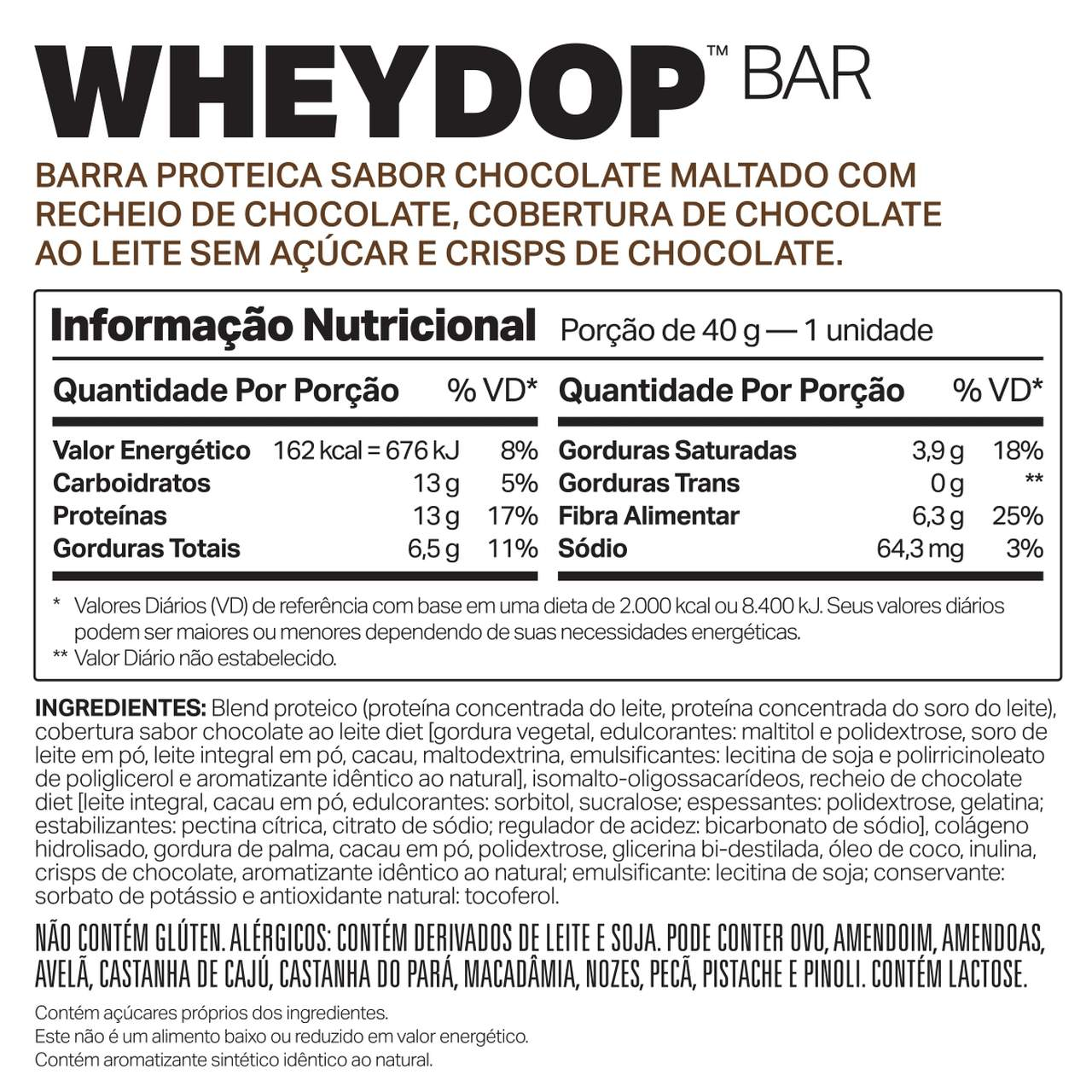 Wheydop Bar Display 480G (12 Barras de 40g) - Elemento Puro