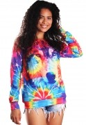 Blusa Moletom Estampado Tie Dye Hippie Psicodélico Tumblr BF5