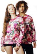 Blusa Moletom Floral Estampado Full Print Unissex Too Glam