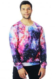 Blusa Moletom Galaxy Estampado Full Print Unissex Nebulosa Roupas Tumblr