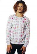 Blusa Moletom Tumblr Estampado Full Print Unissex Patches