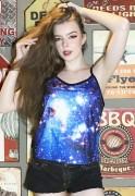 Blusinha Estampada Regata Galaxy ElephunK Universo Preta