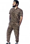 Calça Oncinha Estampada Viscose Animal Print Unissex Marrom