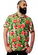 Camisa Estampada Floral ElephunK Unissex Charlotte Verde