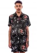 Camisa Estampada Floral Sem Gênero ElephunK Caveiras Dark Preta
