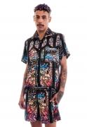 Camisa Estampada Sem Gênero ElephunK Vitral Religioso Preta