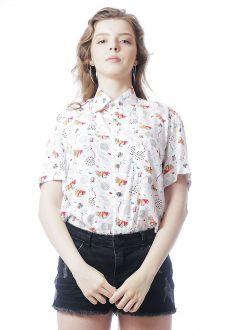 Camisa Estampada ElephunK Marina Branca