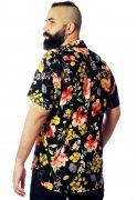 Camisa Floral Estampada ElephunK Palermo Preta